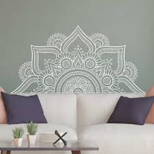 New Design Half Mandala Wall Stickers For Bedroom Home Decor Headboard Vinyl Wall Decals Flower Mandala Yoga Room Murals Lc1196 Wall Stickers Aliexpress