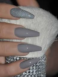 cly grey acrylic nail designs