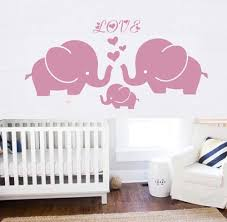 Amazon Com Large Elephant Wall Decal With Elephant Family Wall Decal Removable Vinyl Wall Art Elephant Bubbles Wall Stickers Baby Nursery Wall Decor Pink Home Kitchen