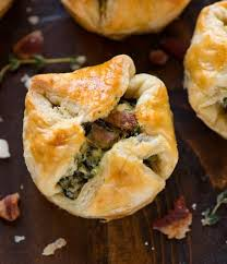 spinach puffs with cream cheese bacon