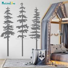 Set Of 3 Pine Tree Home Decal Woodland Nursery Nature Forest Mural Wall Sticker Vinyl Wallpaper Ba754 Wall Stickers Aliexpress