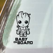 Baby On Board Car Vinyl Decal Sticker Baby Groot Londondecal