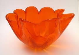 vibrant orange art glass bowl