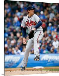 Aaron Blair of the Atlanta Braves pitches against the Chicago Cubs ...