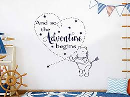 Amazon Com And So The Adventure Begins Wall Decal Winnie The Pooh Vinyl Sticker Decals Classic Pooh Wall Art Pooh Wall Decal Quote Adventure Kids Room Decor C726 Handmade