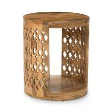 brody mango wood round end table by