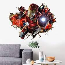 Amazon Com Jingrui 3d Iron Man Wall Stickers Home Decor Removable Adhesive Superhero Wall Decals For Kids Room 6090cm A Home Kitchen