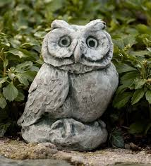 cast stone owl garden statue wind and