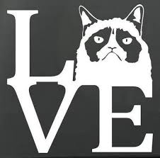 Amazon Com Grumpy Cat Love Vinyl Stickers Symbol 5 5 Decorative Die Cut Decal For Cars Tablets Laptops Skateboard White Computers Accessories