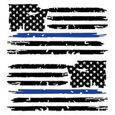Set Of 2 Black Thin Blue Line Distressed Tattered American Flag Decal Stickers Ebay