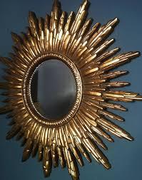 antique gold sunburst mirror with