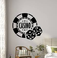 Amazon Com Casino Wall Decal Dice Aces Poker Play Room Vinyl Sticker Holdem Cards Game Gaming Nursery Wall Art Teen Kids Home Kitchen