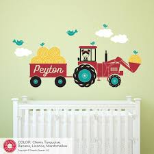 Tractor Girl Wall Decal Personalized Name Farm Baby Nursery Decor Graphic Spaces