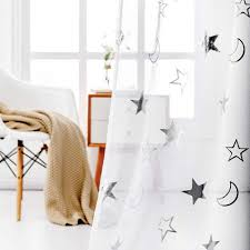 Star Curtains For Kids Room Silver White Sheer Curtains 63 Inch Length Rod Pocket Sheer Panels Printed Star Window Curtain For Bedroom 52 X 63 Inch 2 Panels Silver And White