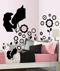 Horse With Girl Wall Decal Vinyl Wall Decal Girls Room 13 X 16 Black Or White For Sale Online