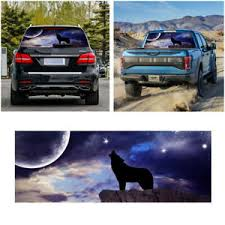 Black Wolf Pattern Car Rear Window Decal See Through Sticker Car Truck Suv Van Ebay