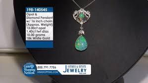 opal diamond 18k white gold pendant