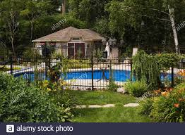 Backyard Pool With Fence High Resolution Stock Photography And Images Alamy