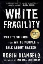 Cover von White Fragility. Weiße Schrift auf schwarzem Hintergrund.