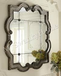 large ornate silver square wall mirror