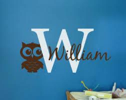 Owl Monogram Decal Vinyl Wall Sticker Girls Nursery Kids Etsy