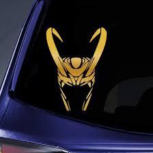 Amazon Com Bargain Max Decals Loki Helmet Sticker Decal Notebook Car Laptop 6 Gold Automotive