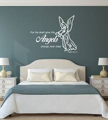 Bible Verse Wall Decal Psalm 91 11 For He Shall Give His Angels Charge Over Thee Customvinyldecor Com