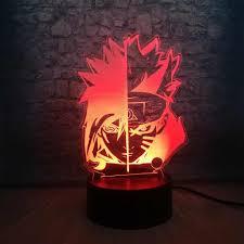 3D Sasuke Đèn Ngủ Led Naruto Mặt 7 Màu Thay Đổi Teen Trang Trí Phòng Đèn Sạc  USB Đầu Giường Tiện Ích Con Sinh Nhật quà Giáng Tặng|