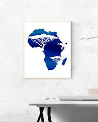 Watercolor Blue African Continent Wall Art Africa Print Etsy