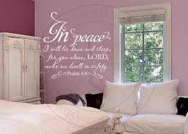 In Peace I Will Lie Down Vinyl Wall Statement Psalm 4 8 Vinyl Scr203
