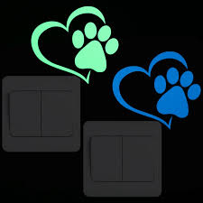 Glow In The Dark Cat Dog Paw Heart Decal Sticker For Wall Switch Decor Furniture Laptop Board Car Decoration Luminous Sticker Buy At The Price Of 0 97 In Aliexpress Com Imall Com