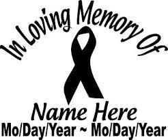 In Loving Memory Of Cancer Ribbon 8 Decal Window Custom Memorial Car Decals Ebay