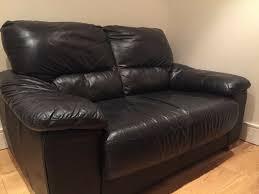 2 seater argos black leather sofa