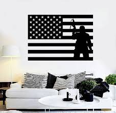 Vinyl Wall Decal Usa Flag Soldier Patriotic Military Art Stickers Ig4093 Ebay