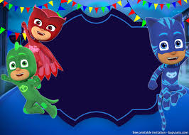 Free Printable Pj Masks Invitation Template Convite Aniversario