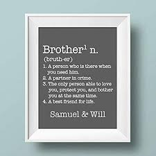 Amazon Com Brother Definition Paper Art Print Personalized Boy Print Brother Wall Art Brother Sign Shared Boys Room Brother Playroom Boy Playroom Brother Gift Brother Decor Handmade