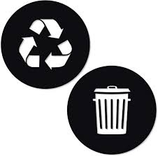 Amazon Com Recycle And Trash Sticker Logo Style 2 2 75in X2 75in Symbol To Organize Trash Cans Or Garbage Containers And Walls Xsmall Black Matte Vinyl Decal Sticker Home Kitchen