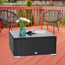 patio pe rattan wicker coffee tea table