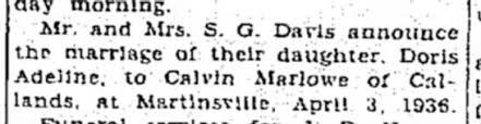 Joseph Calvin Marlowe weds Adeline Davis 4/13/1936 pg 5 . the bee ...