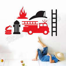 Cartoon Fire Truck Engine Car Vinyl Wall Decal Removable Cartoon Stickers For Boys Room Special Design Home Decoration Diy White Vinyl Wall Decals White Wall Decals From Onlinegame 10 76 Dhgate Com