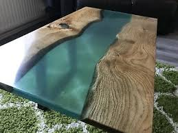 oak resin river coffee table