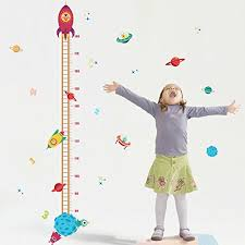 Zooarts Outer Planet Rocket House Decal Height Wall Sticker Kids Room Growth Chart Baby B075d8dk16