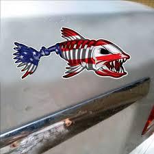Car Truck Graphics Decals Motors Funny Usa Bone Fish American Flag Car Accessory Bumper Window Decal Sticker New Hairli Hr