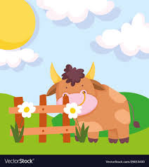 Bull Flower Wooden Fence Sun Farm Animal Cartoon Vector Image