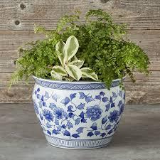 blue white ceramic planter large