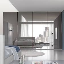 master bedroom with mirrored sliding