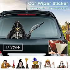 17 Styles Halloween Scary Wiper Decal For Rear Window 3d Cartoon Festive Car Sticker Reusable Waterproof Rear Wipers Decoration Wish