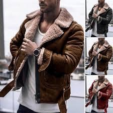 winter men leather fur coat jacket slim