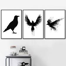 Sticker Decal Feather Birds Vinyl Wall Decor Room Flying Raven Crow Eagle Decor