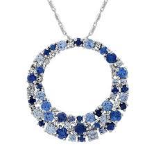 blue sapphire diamond circle pendant